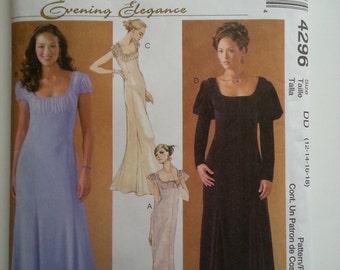 Evening gown/long dresses women/ romantic/ puffy sleeve/ low cut dress/2003 sewing pattern, Bust 36, Waist 28, Hip 38, Size 14, Mccalls 4296