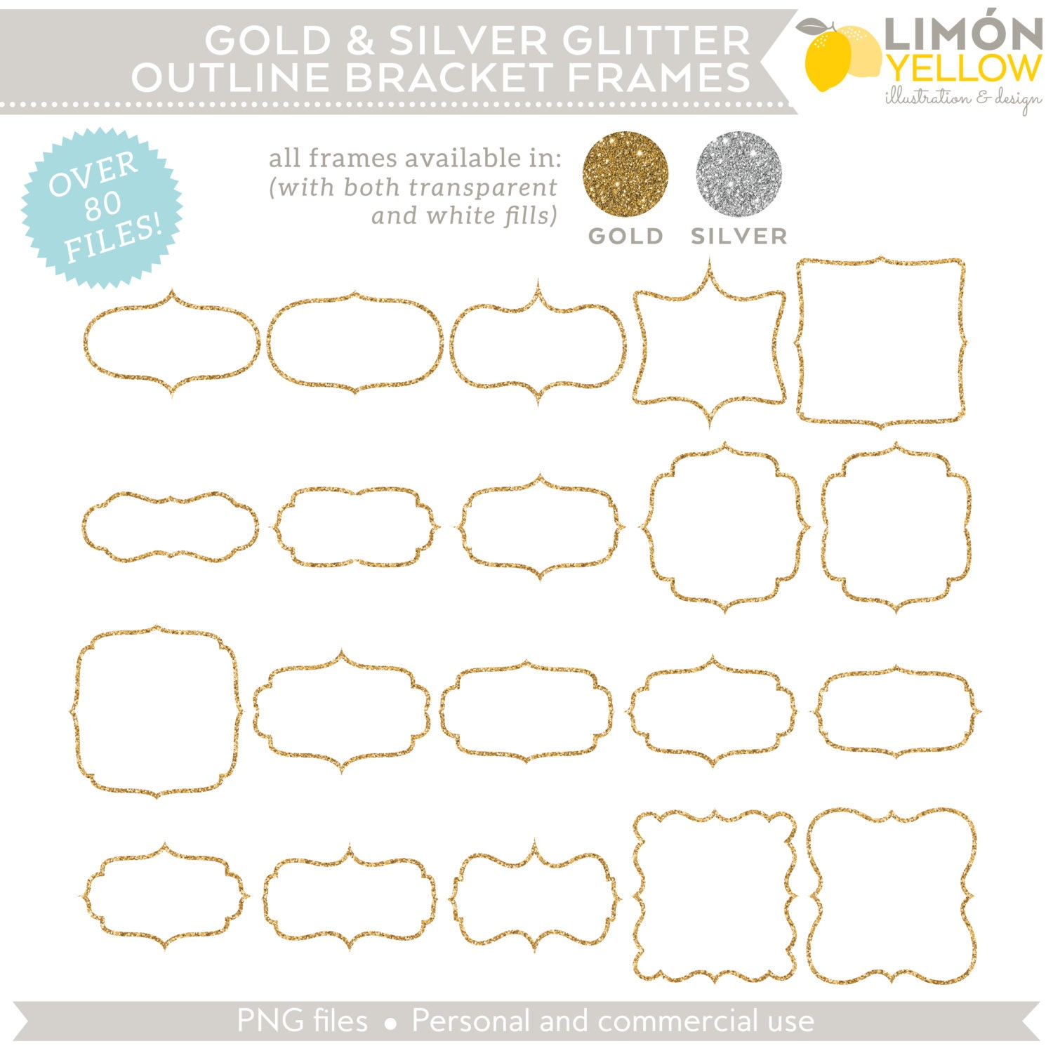 Digital Printable Frames Tags - Gold and Silver Glitter Outline ...