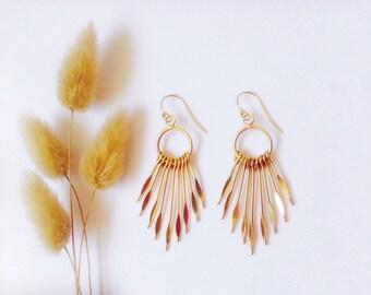 Golden chandelier earrings in 14K gold Filled, Ethnic Chandelier Earrings, Comme les Blés