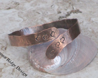 "FREE SHIPPING - Use Code ""SHIPFREE17"" @ Checkout - Swirling Heart Stamped Artisan Style Copper Bangle Bracelet"