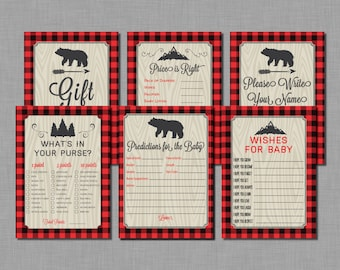 Lumberjack Baby Shower Games buffalo plaid Finley BC17 Printable - Instant Download