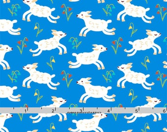 Lamb Fabric, Easter Baby Quilt Fabric, Windham Nursery Rhymes 42588 3 Erica Hite, Sheep Fabric, Blue Lamb Quilt Fabric, Cotton