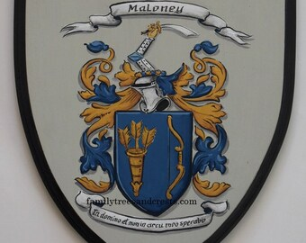Coat of Arms plaque, hand painted family crest shields on 9 x 10 wood wall plaques