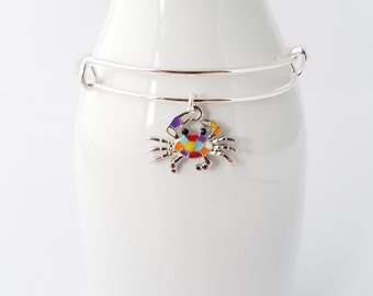 Cute and colorful crab silver plated bangle bracelet