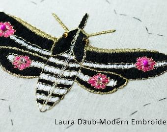 Artist Needlepoint Design - DIY Modern Embroidery Digital Pattern PDF - Moth 1