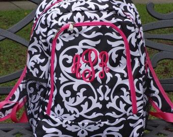 Personalized  Girls DAMASK Backpack   DAMASK Bookbag