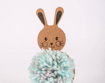 DIY Pom pom for kids, How to make Pompom, Craft favor for boys,  Blue, Bunny, Darling craft kid, Easy craft kit, Pom Pom craft kids kit