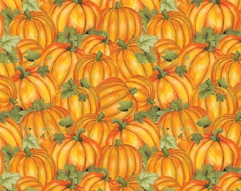 20% off thru 7/10 COLORS OF FALL packed orange pumpkins green leaves cotton print by the 1/2 yard Wilmington fabric-84414-587