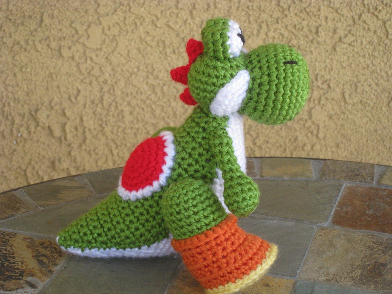 Amigurumi Yoshi Tutorial : Crochet pattern yoshi plush amigurumi figurine doll stuffed