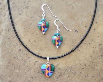Multi Inlay Heart Earrings & Necklace SET (Zuni Fetish style)