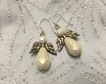 ON SALE!! Frosty White Angel Earrings
