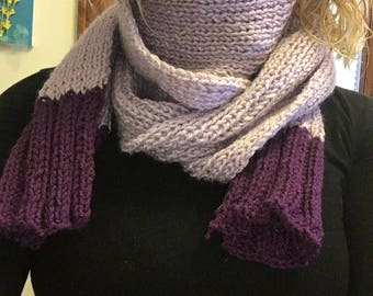 Two colored scarf-- purple