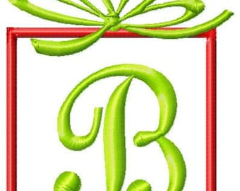 Christmas Present Machine Embroidery Monogram Font Set