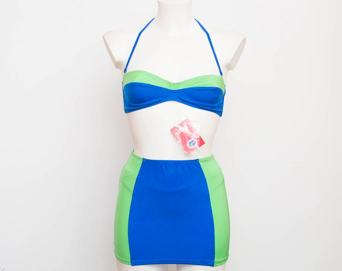 NOS Vintage bikini with skirt blue and green Size S M 80s or 90s