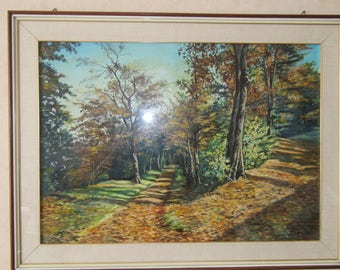 Landscape painting autumn Park, signed Bosio, 60 Years, oil technique,