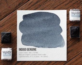 Indigo Genuine Half Pan. Handcrafted Watercolors.