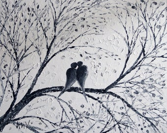 """White Black Painting Love Birds Whimsical Palette Impasto Abstract Artwork on Canvas Ready to Ship 30"""""""