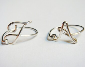 Initial Ring   Silver Ring   Personalized Initial Ring   Personalized Jewelry   Wire Word Ring   Wire Wrapped Ring