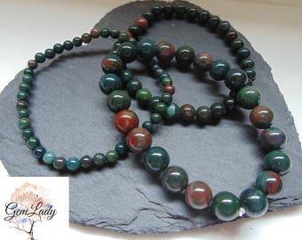 Bloodstone Heliotrope 4mm 6mm or 8mm Round Bead Beaded Stretch Bracelet ~ Gemstone Crystal Healing ~ Handmade