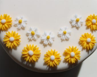 Hand Crafted Edible Spring  Daisies in yellow and white varied amounts - Cupcake Toppers