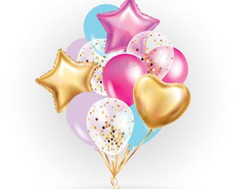 Unicorn balloons  set / pack -latex balloon - balloons bouquet, pink, gold, blue, confetti balloons