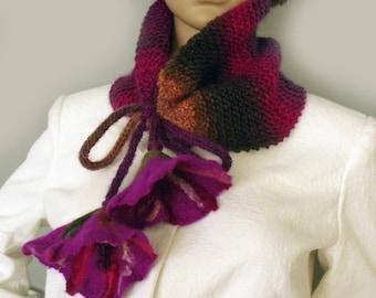 Cowl neckwarmer Knit cowl scarf Knit neckwarmer Cowl with flowers Felt flowers scarf Boho scarf cowl Wool scarf Winter scarf Gypsy scarf