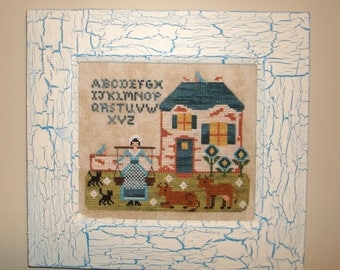 The Milkmaid, The Cows and the Cats / A Country Cross Stitch Sampler Chart