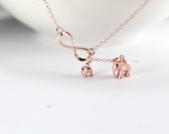 Rose Gold Elephant Necklace,Rose Gold Infinity  Lariat .New Mommy Jewelry,good luck jewelry.New Mom Gift.Babe Elephant jewelry.Single Mother