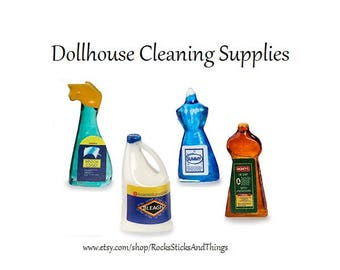 Dollhouse Cleaning Supplies, Miniatures