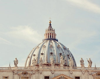 rome photography, italy photography, st peters square, architecture, church decor, religious decor, St Peters Basilica Dome R05