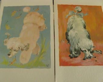 Vintage Poodle Blank Cards ~ Poodle Greeting Cards  Blank Notecard  ~~ Greeting Card Artist Signed ~~ Suitable for Framing  1962 Royal