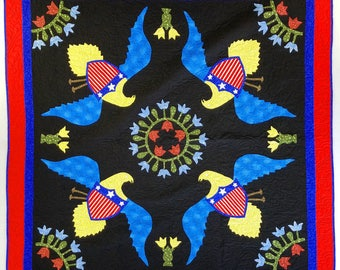 Patriotic Eagle medallion - FINISHED QUILT - Queen, Masculine Must See Design