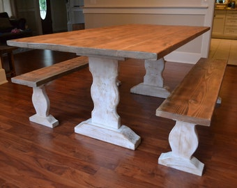 Farm table reclaimed wood dining table whitewash dining farm table reclaimed wood dining table dining table and benches furniture kitchen workwithnaturefo