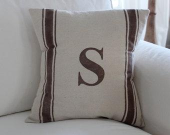 Personalized Grain Sack Pillow Cover - Farmhouse Decor - Cottage Decor - Beach Pillow - Personalized Pillow - Rustic Decor