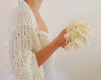 Ivory Shrug Bolero Bridal Shrug Wedding Bolero Bridal Jacket Bridal Accessories Shrugs Boleros Romantic Soft Elegant Hand Knit