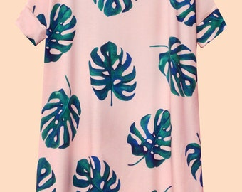 PINK MONSTERA dress