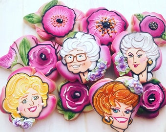 12 Assorted Floral and Friendship Sugar Cookies