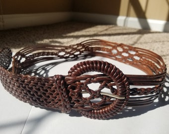 Brown Leather Braided Woven Belt