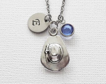 Cowboy Hat Necklace, Cowgirl Necklace, Country Western Jewelry, Swarovski Birthstone, Silver Initial, Personalized Monogram, Hand Stamped