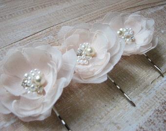 Champagne flower Champagne cream hair flower Cream champagne wedding flower 3 champagne flower Set of 3 cream hair flowers Cream ivory pearl