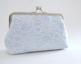 Something Blue,Bridal Silk And Lace Clutch Blue Bridal Accessories,Wedding Clutch,Lace Clutch Bridal Clutch,Bridesmaid Clutches