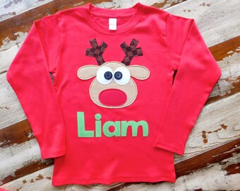 Boy Christmas Shirt, Sibling Reindeer Shirt, Boy Personalized Reindeer Shirt, Size 3-6m to 12yrs