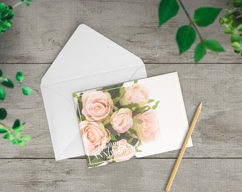 Happy Anniversary card,Pink roses, wedding anniversary card for friend, anniversary card for couple, wedding anniversary gift, TWO-GE258