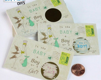 Gender Reveal (25 cards) Scratch Off Vintage Stork Baby Gender Reveal Game Card Reveal the Sex Gender Announcement  Scratch-Off Favor
