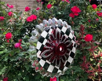 glass garden flower, yard art, suncatcher,vintage glass flowers,plate flower, garden decor