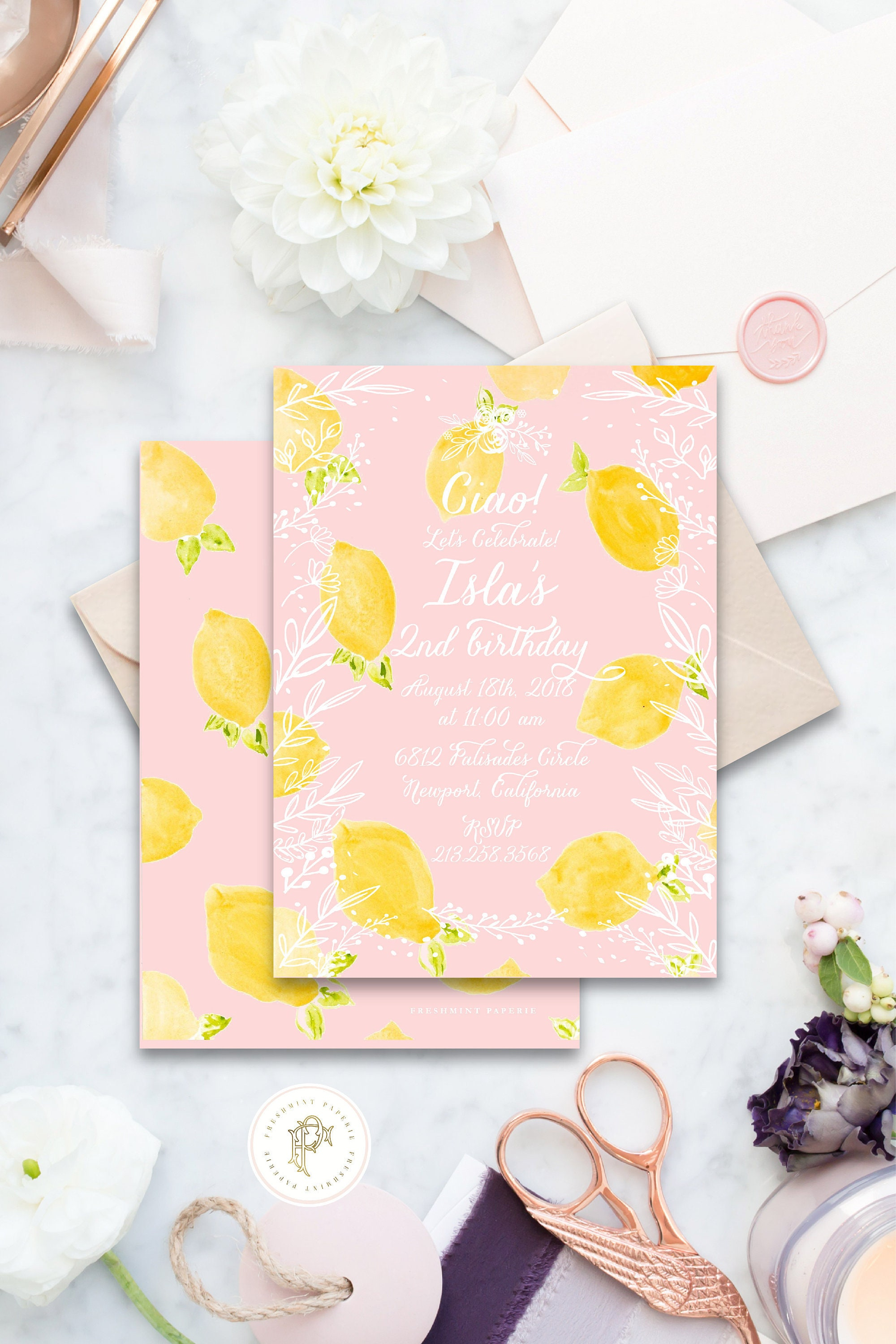 Lemon Birthday invitation Floral Lemon Birthday Invitation