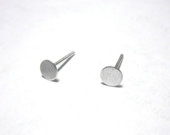 Flat 5mm Sterling Silver Round Studs, 5mm Sterling silver earrings, silver studs, Sterling silver stud earrings 0035