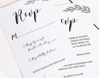Rustic Wedding RSVP Cards Wedding Response Cards Wedding Card RSVP Wedding Template Download Kraft Wedding Editable DIY Printable Templates
