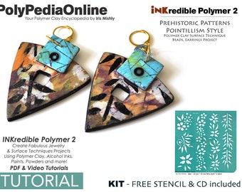 Polymer Clay, PDF Tutorial, DIY Kit, Stencil, Crafting Polymer Clay, Polymer Clay Pattern, Polymer Clay Jewelry, Polymer Clay Tutorial, Ink