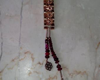 Ruby and pink gold plated necklace